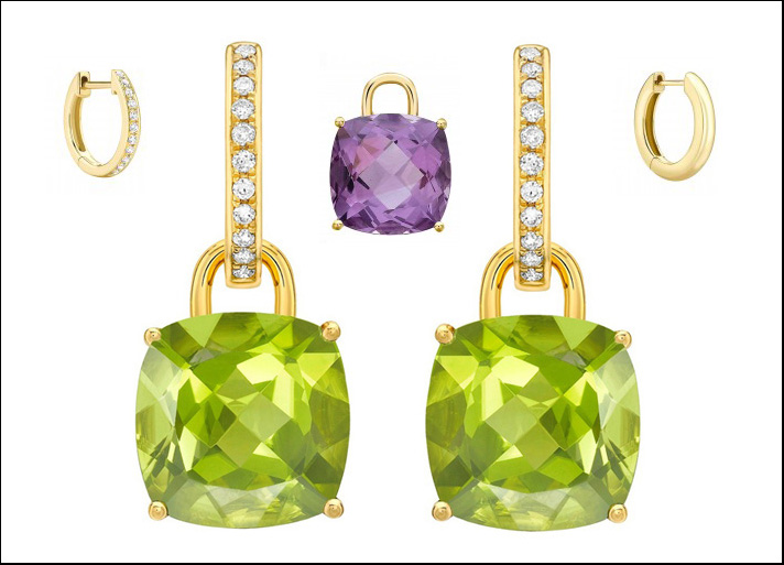 Kiki McDonough, collezione Detachable earrings in oro, brillanti e pietre dure tra cui peridoto e ametiste