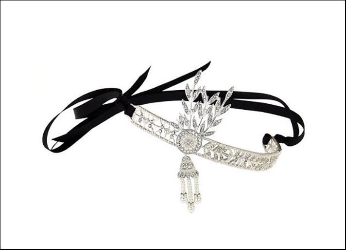 HV Sterling Co., tiara Deco Roaring 20's Art Deco Vintage in metallo, cristallo e stoffa. Prezzo: 35 dollari su Amazon