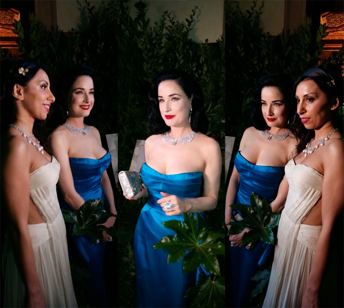 Nel collage, Dita Von Teese (in blu) e Eugenia Bruni negli scatti di Carolina Nobile