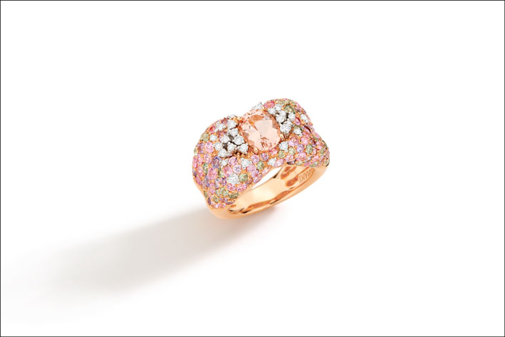 18K rose and white gold ring, hand engraved with diamond and brown diamond, African morganite and multicolored sapphires