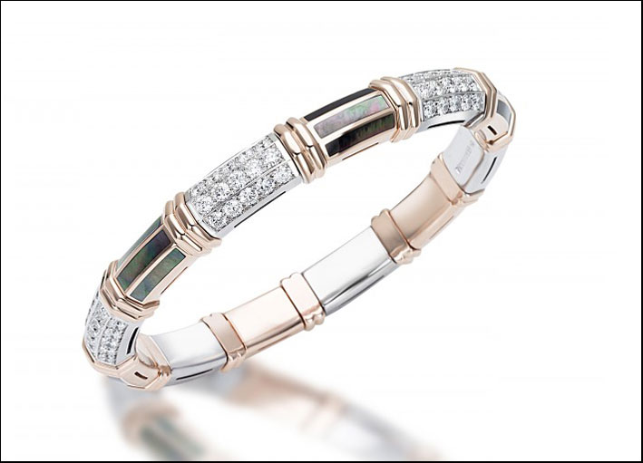 Xpandable, bracciale in oro rosa, diamanti e madreperla verde