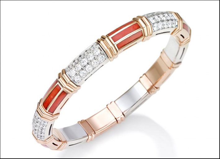 Xpandable, bracciale in oro rosa, diamanti e corallo