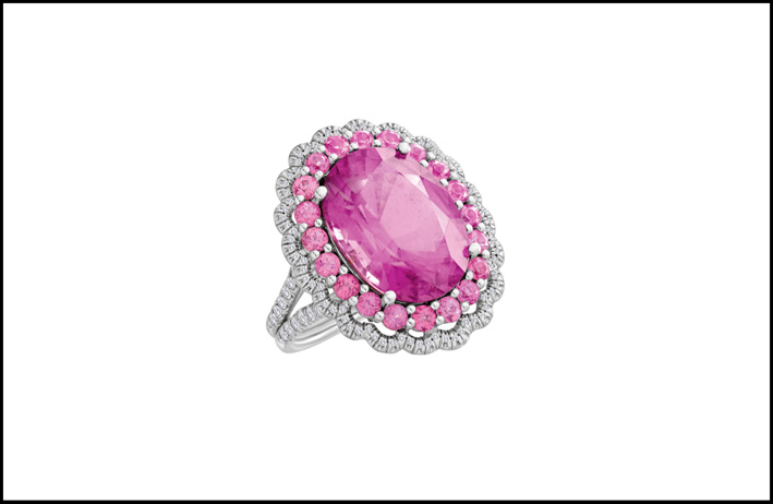 Anello in platino con tormalina rosa, spinello rosa e diamanti