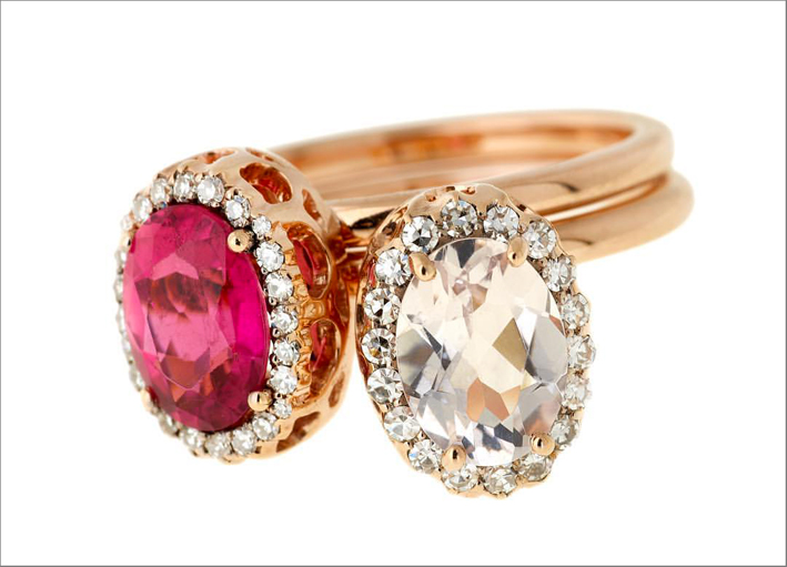 Anello con morganite rosa e spinello rosso, Beirut collection