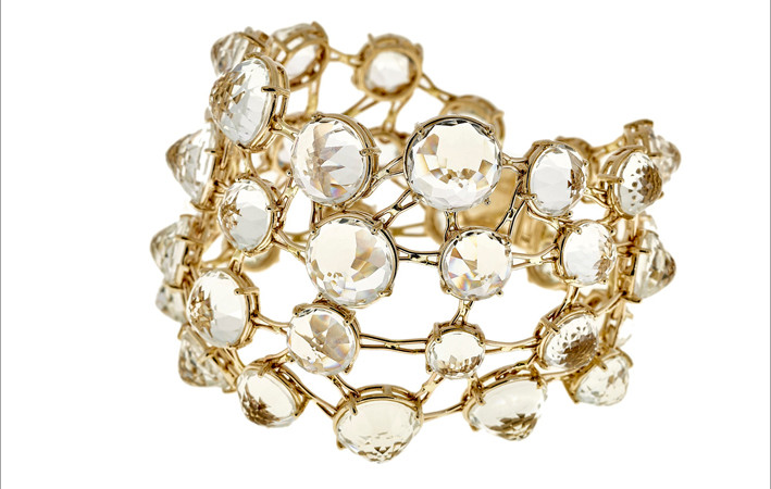 Selim Mouzannar, Transparence collection, bracciale in oro e topazi bianchi