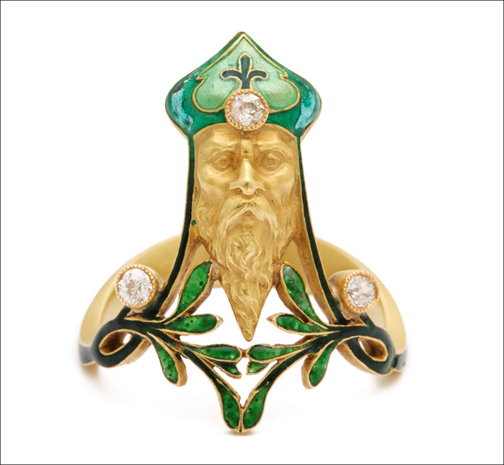 Anello Art Deco in oro e smalto del laboratorio di René Lalique. Circa 1900