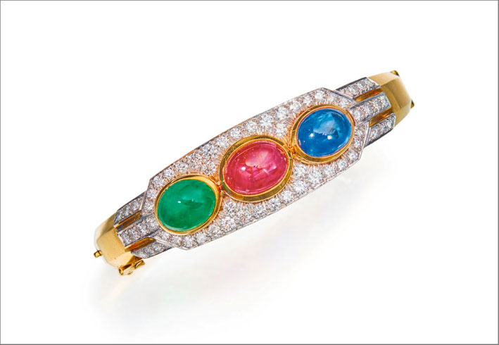 Bracciale in oro e platino, pietre colorate, diamanti, firmato David Webb