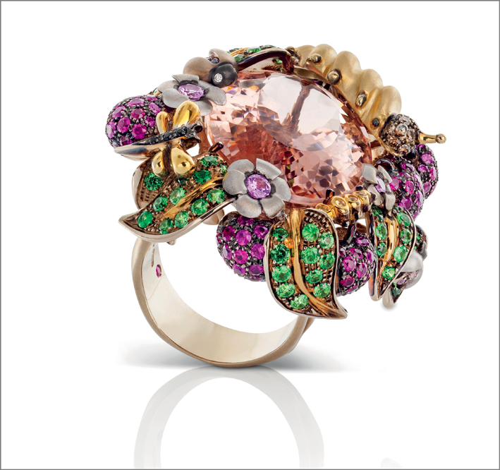 Ring in yellow and burnished satin gold with white and brown diamonds, morganite, green garnet, rubies, amethyst and black and yellow sapphires
