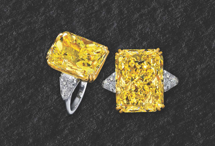 Anello dal catalogo di alta gioielleria di Jacob & Co. DIamanti bianchi e fancy yellow