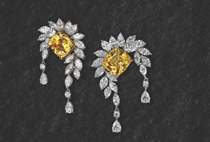 Orecchini dal catalogo di alta gioielleria di Jacob & Co. DIamanti bianchi e fancy yellow