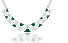 The Emerald and Diamond  Palmette Necklace