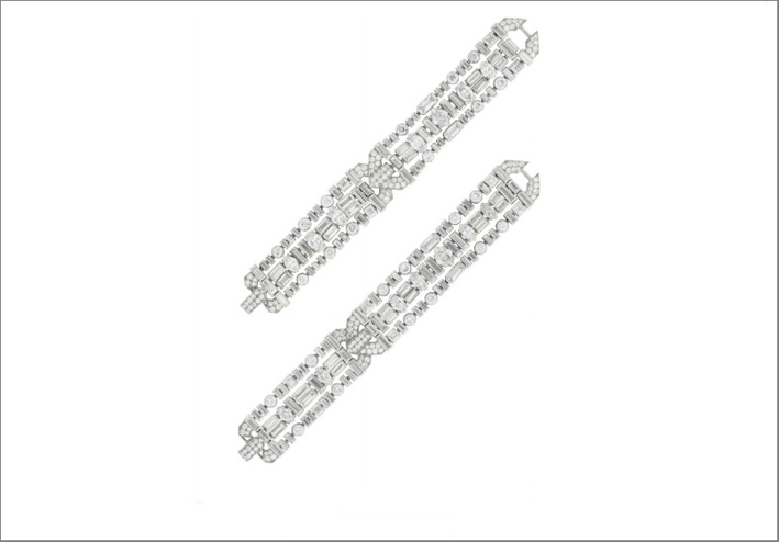 Bracciale di cartier Art Deco, circa 1930, in platino e diamanti