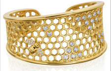 B collection, bracciale a forma di alveare in oro e diamanti