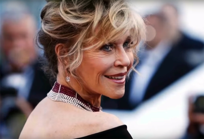 Jane Fonda con la collana Reine Makeda di Cartier