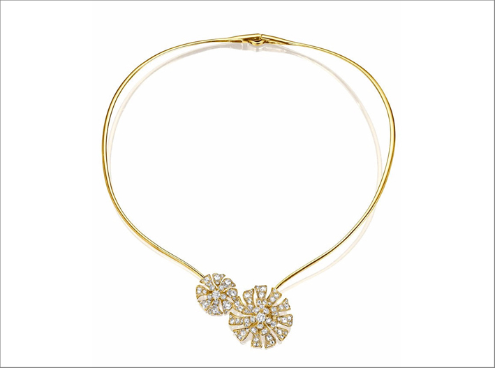 Aster Double Bloom Collar, in oro giallo e diamanti