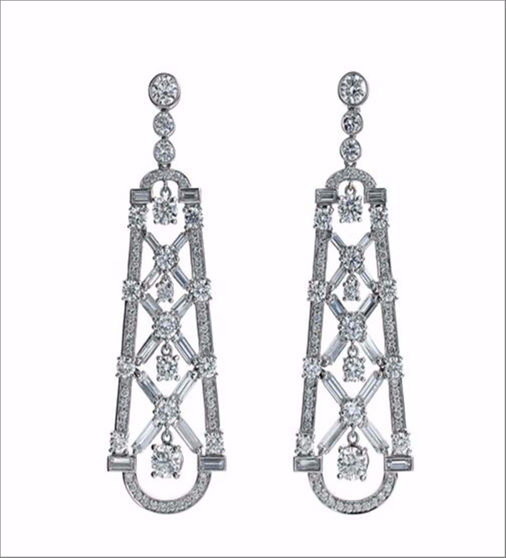 Deco Diamond Mosaic earring, in oro bianco e diamanti