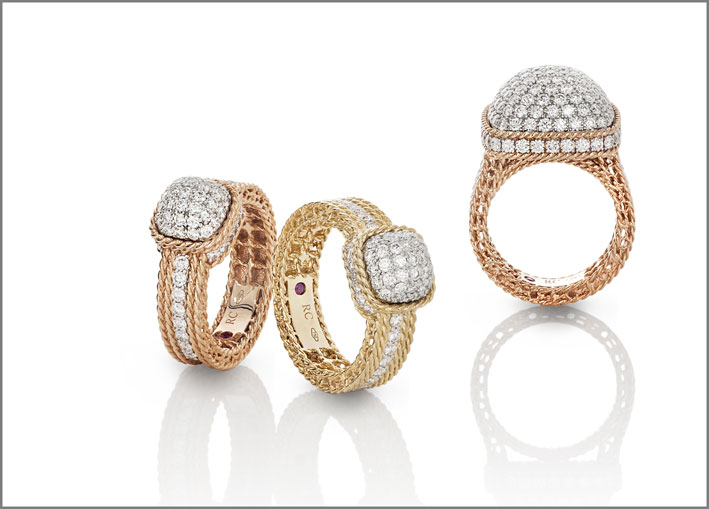 Roberto Coin, Yellow and rose gold rings and earrings with white diamonds