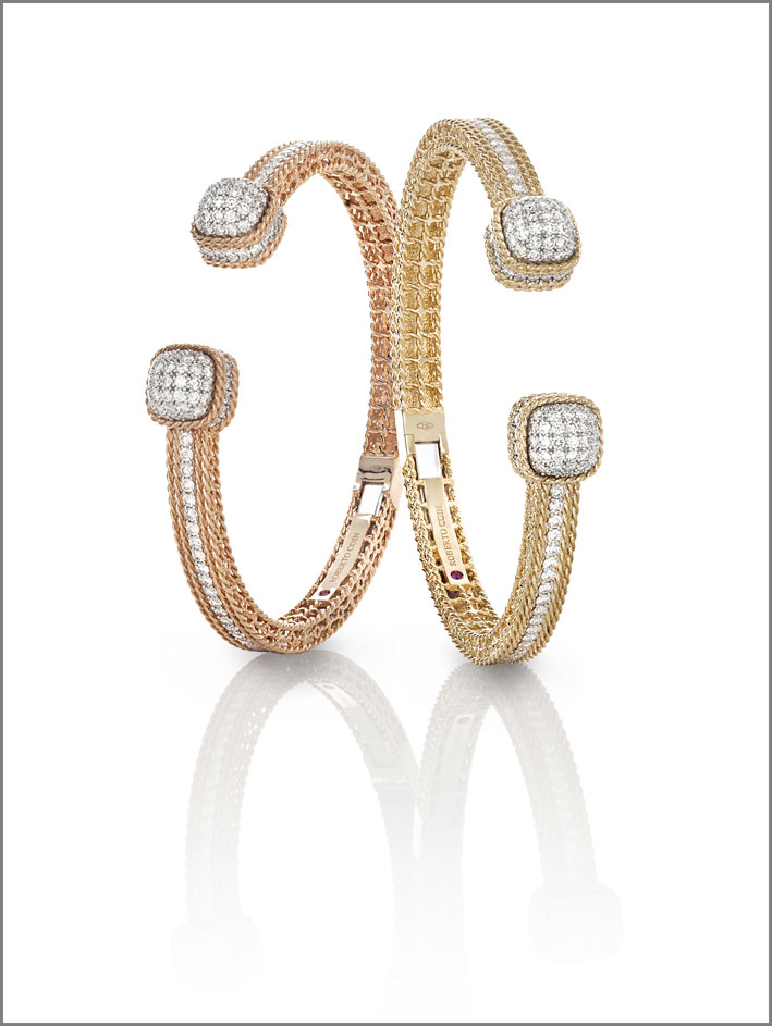 Roberto Coin, rose and yellow gold cuffs with white diamonds