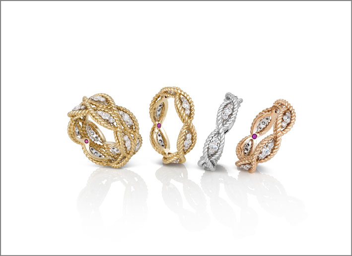 Rose, white and yellow gold rings with colourless diamonds