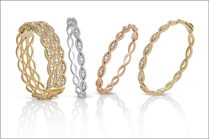 Rose, white and yellow gold bangles with colourless diamonds