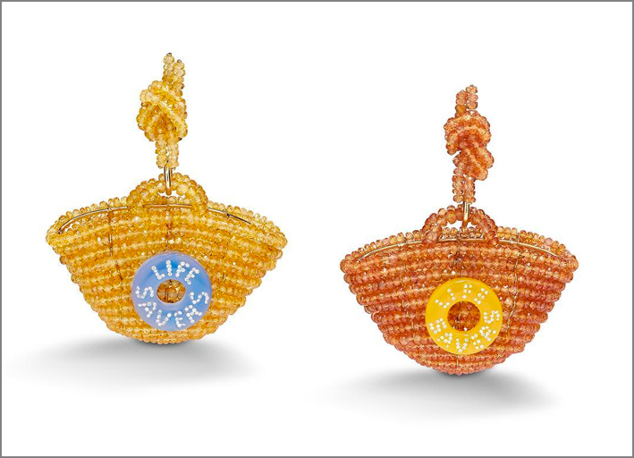 Suzanne Syz, Basket earrings, con diamanti e zaffiri