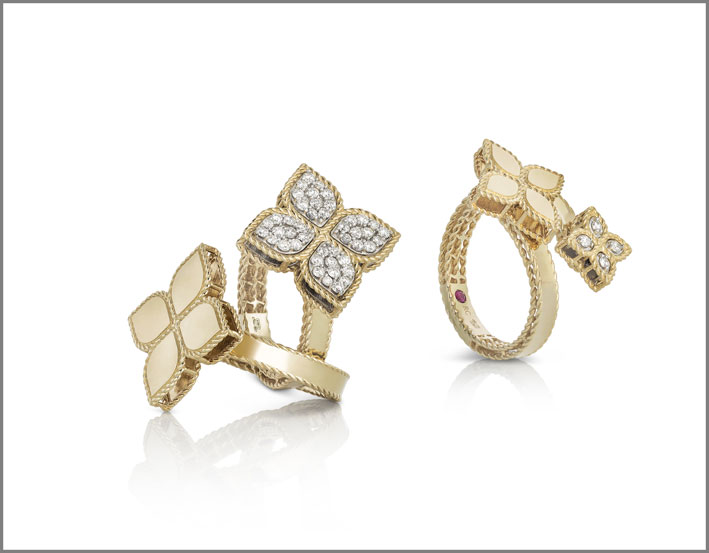 Single element and contrarié rings in white gold with and without white diamonds