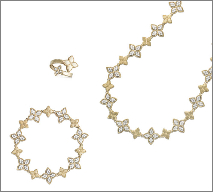 Yellow gold necklace with diamonds. Yellow gold bracelet with diamonds. Yellow gold contrarié ring with diamonds