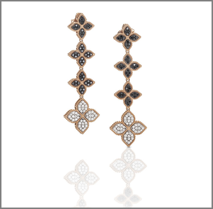 Rose gold earrings with black and white diamonds