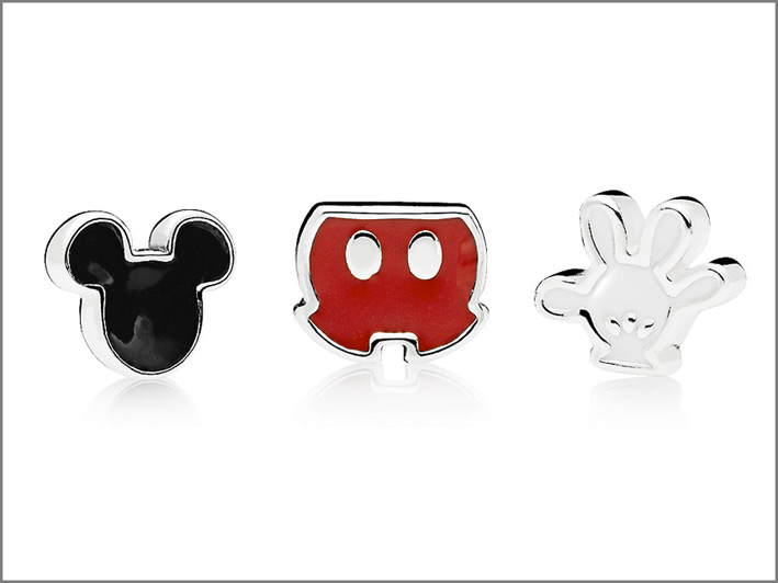 Elementi Mickey Mouse in argento e smalto