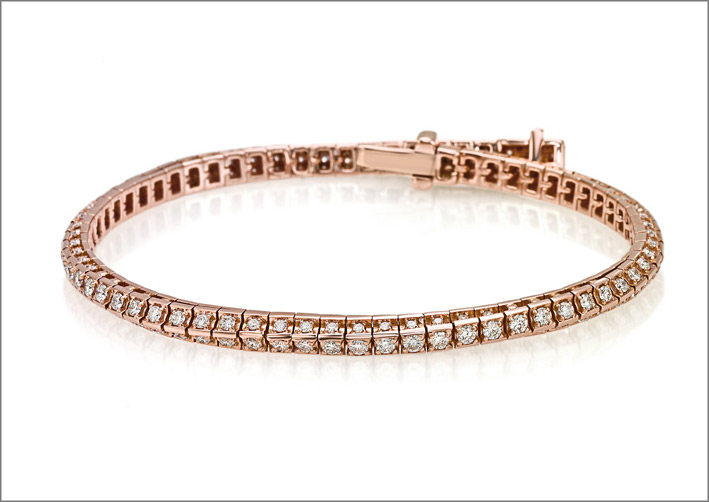 Crieri, bracciale tennis in oro rosa e diamanti