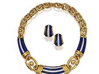 Dalla collezione di Estée Lauder: collana di malachite azzurra  e diamanti, con orecchini a clip. Firmati: David Webb. Valutazione: 20.000-30.000 dollari