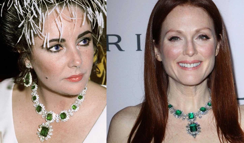Elizabeth Taylor e Julienne Moore: stessa collana, classe differente