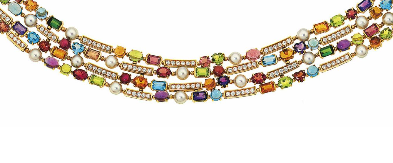 Collana con pietre e diamanti incastonati «Allegra» girocollo, firmata Bulgari. Stima: 12.144-18.216 dollari