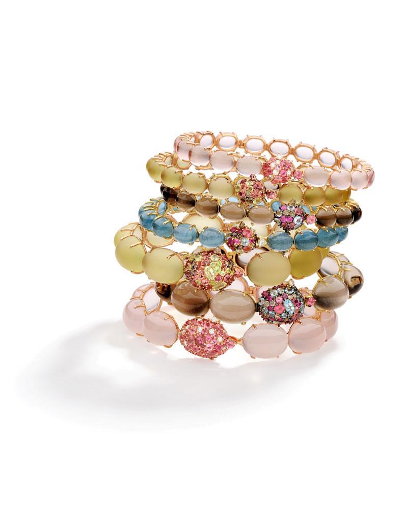Bracciali in oro giallo e rosa a 18 carati, con diamanti bianchi e brown rosa fumé, quarzo giallo limone e rosa, tormalina,  rubino, granato mandarino e acquamarina