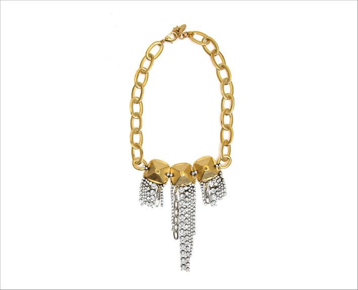 Collana in ottone finitura color oro, strass e cristalli