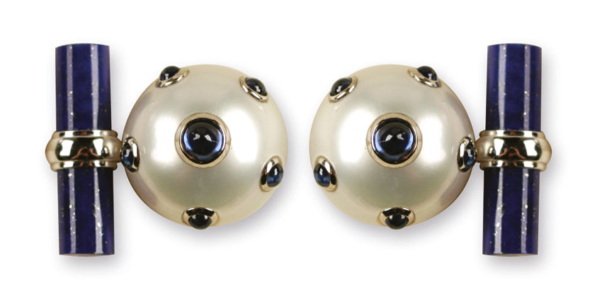 Gemelli con perle e zaffiri cabochon