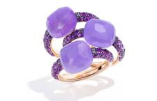 Anelli collezione Capri. Singolo anello in oro rosa, con giada tinta lavanda e ametiste. Prezzo: 2.100 euro