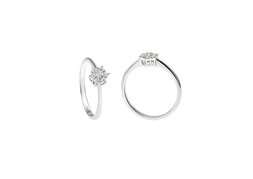 Re Carlo, anello della collezione Fresh, linea White, in oro bianco e diamanti