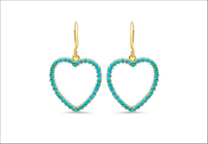 Orecchini in oro a forma di cuore e turchesi