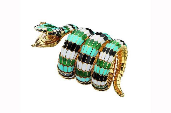 Bracciale della serie Serpenti, oro policromo, smalto e smeraldi