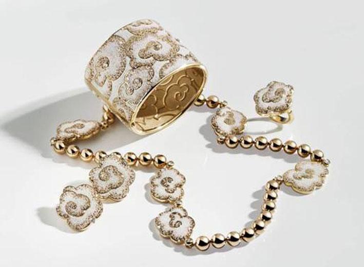 Bracciale e collana di oro e micro mosaico smaltato