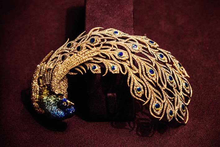 Spilla a forma di pavone realizzata per un maharaja indiano agli inizi del Novecento