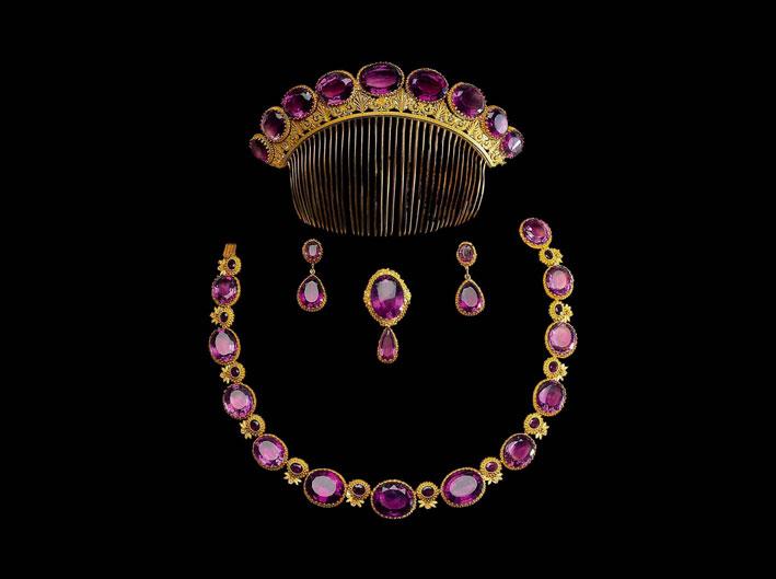 Parure in oro e ametista datata 1820