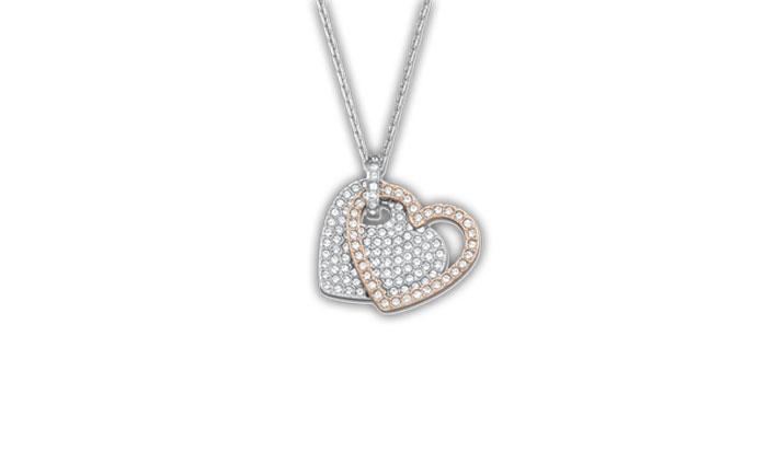 Pendente con due cuori amovibili in pavé di cristalli trasparente su catena in metallo rodiato e una in metallo placcato oro rosa