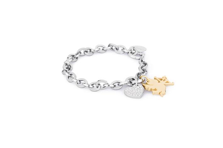 Honey, bracciale in acciaio 316L, pvd oro e cristalli. Prezzo: 42 euro
