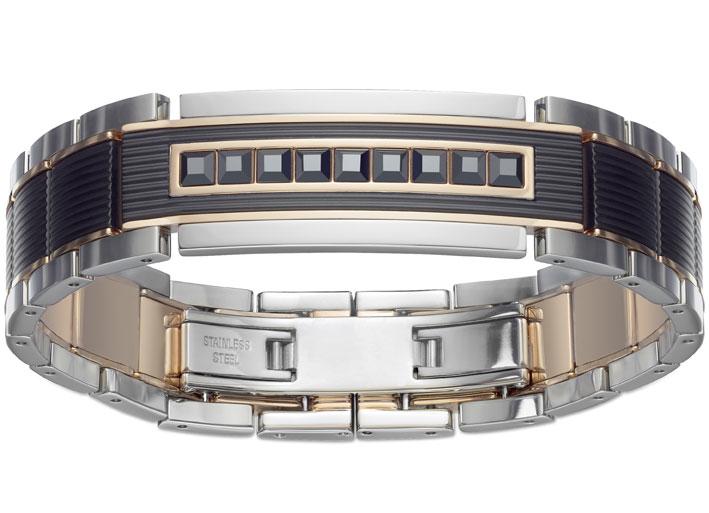 Bracciale in acciaio inossidabile con elementi in metallo dorato e PVD nero e cristalli Jet. Pendente e gemelli abbinati