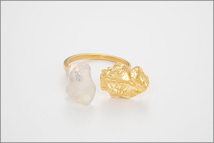 Bjork, anello in argento placcato oro