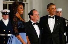 Michelle Obama con François Hollande  e Barack Obama