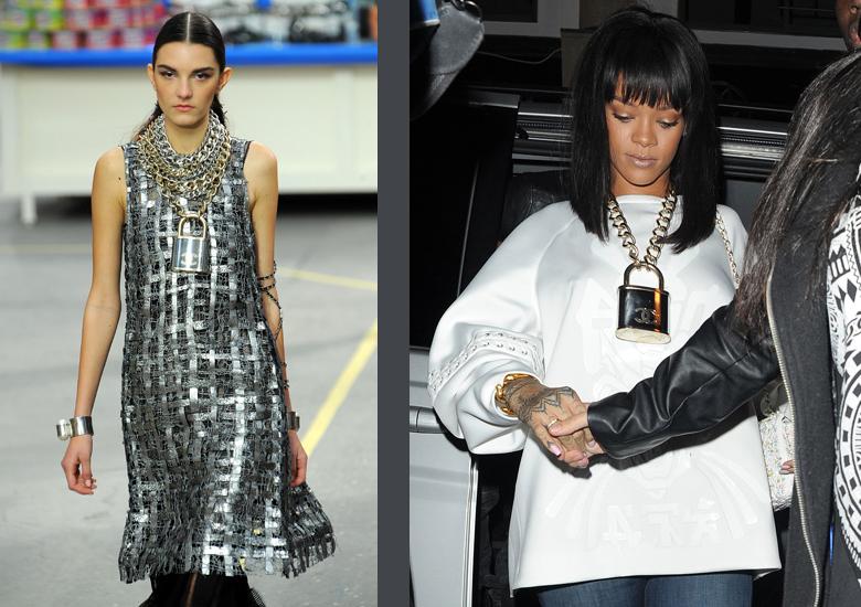 A destra Rihanna con collana maxi. A sinistra, la sfilata di Chanel