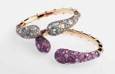 Bracciali con diamanti bianchi, zaffiri rosa e lavanda, diamanti champagne ed acquemarine